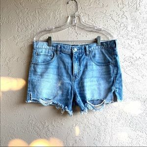 Free People Light Wash Distressed Denim Shorts